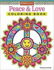 PEACE AND LOVE Adult COLORING BOOK Thaneeya McArdle hippie designs 60 style sign