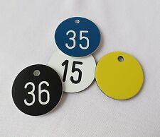 5 St.PVC Kunststoff Werkzeugmarken Kennzeichnungsschilder Ronden 30mm mit Gravur