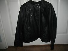 WOMENS LANE BRYANT BLACK FAUX LEATHER MOTO STYLE JACKET SIZE 18/20