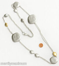 Chico's Signed Necklace Long Silver Tone Chains & Hammered Disks Gold Accents