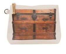 NWT Vintage Wooden Trunk Look Clutch Cosmetic Bag