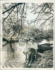 1959 Pretty German Girls Dip Feet in Water in Stream Este Press Photo