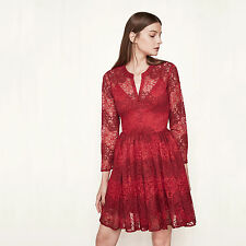 MAJE RAYELA Two-tone Lace Dress Red Size S Orig. $570 NEW