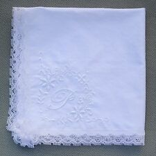 P Initial White Handkerchief Monogrammed Cotton Letter Name Hanky Lace Edge