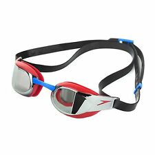 NEW SPEEDO FASTSKIN ELITE MIRROR SWIMMING GOGGLES + CARRY POUCH - RED/SILVER