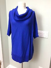 NWT CHICO'S Sz 2 - M Blue Grotto Castille Cowl Sweater 3/4 Sleeve Cotton Blend