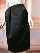 $1450 New OSCAR DE LA RENTA Black Satin Silk Diagonal Pleats Pencil Skirt 2