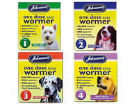 Johnsons One Dose Easy Wormer Dog Dewormer Worming Roundworm Tapeworm Tablets
