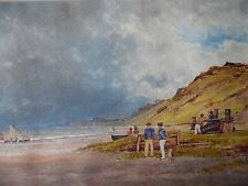 Antique W/C Sailors and Boats on a Beach. Listed Richard Chattock