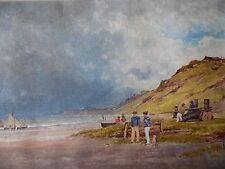 Antiguo Con C Marineros y barcos en una playa. listadas Richard chattock