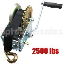 2500lbs Nylon Strap 2 Gear Hand Winch Hand Crank Gear Winch ATV Boat Trailer