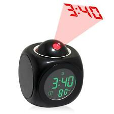 Digital Alarm LED Projection Desk Clock Snooze Voice Talking Time Thermometer