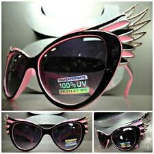 UNIQUE VINTAGE EXAGGERATED CAT EYE WINGS Style SUN GLASSES Black Pink Gold Frame