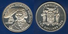 Jamaica Jamaique - 10 Dollars 1976 Horatio Nelson PROOF Argent Silver 31 000 ex