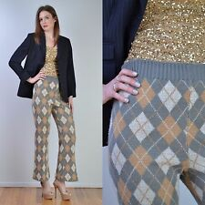 VTG 60s Grey ARGYLE Sweater Knit Plaid TWEED RIDE High Waist Wide Leg Pants S
