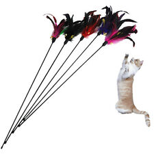 Fun Kitten Toy Cat Feather Bell Wand Teaser Rod Bead Play Pet Ball Toys WZ