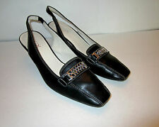 Women's Geox Black Slingback Heel Sz 39.5 Euro Silver Chain Accent Very Soft