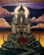 """Halloween Art Haunted House Witch Ghost Cat """"Gated Manor"""" Byrum  PRINT"""
