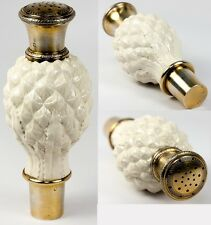 Antique French Sugar Shaker, Powder in Porcelain and Sterling Silver Vermeil