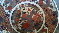 Heavy Oriental Hand Painted Porcelain Platter with Peacock Birds MARKED