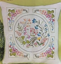 "Mini Fleur Bucilla Vtg Crewel Embroidery Kit Pillow Flower 16"" Square 2479 Linen"