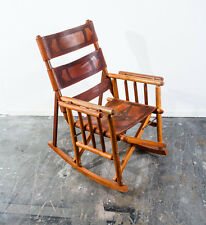 Mid Century Teak Rocking chair Saddle Leather Folding Campaign Vintage Pazmino