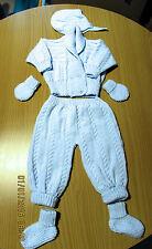 Azul De Bebé Traje Cochecito de 2 Piezas Tejido a mano con James Brett 0 - 3 meses