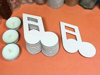 WOODEN DOUBLE NOTE BLANK Shapes 9cm (x10) wood musical craft shape blank