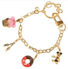 New Disney Store Mickey mouse Tea time cupcake donut gold spoon bag charm Japan