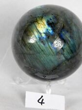 4) labradorite iridescent Polished Sphere Crystal Ball Madagascar 3 Inch Gift