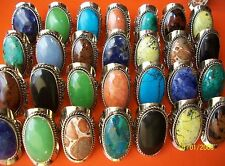 LOT 40 BIG RING SEMI PRECIOUS STONE - ADJUSTABLES - ALPACA SILVER