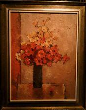 """Jos Van Dijk large oil painting """"Flowers"""" 1970 39"""" by 31"""""""