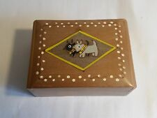 Vintage 1950s Wooden Cigarette Table Box. West Highland Terriers. Keepsakes Box
