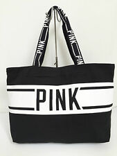 BNEW Authentic PINK By VICTORIA'S SECRET Large Canvas Tote Bag Blk/Wht FREE SHIP
