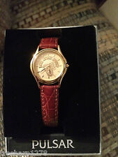 Pulsar Womens Leather Strap Watch with EKU Emblem on Dial