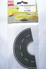 N scale Busch ASPHALT CURVE Street / Curved Road with White markings # 7099