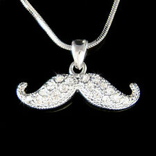 w Swarovski Crystal ~Mustache~ Fun Modern Bridal Wedding Party Pendant Necklace