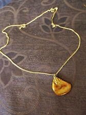 UNUSUAL PRETTY POLISHED AGATE ? STONE PENDANT ON LONG SILVER TONE CHAIN