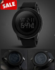 Men Wrist Watch Army Military Rubber Band Sports Fashion Digital Quartz Black