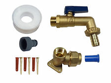20mm MDPE Outside Tap Kit. With Wall Plate, Heavy Duty Lever Tap & Hose Fitting