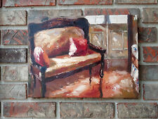 "OIL Painting-Formal Antique Settee 12""x16""New, Stretched"