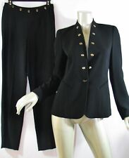 Trendy ESCADA Black Tapered Leg Pants Jacket Suit Silver Accts EE Buttons 34 38