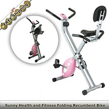 Sunny Health Folding Recumbent Bike Home Gym Workout Training Exercise Fitness