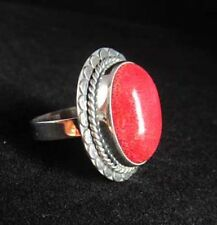Red Coral Cabochon and Sterling Silver Ring