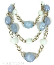 Multi Strand Blue White Gold Layered Chunky Beaded Necklace Womens Jewelry