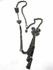 BETSEY JOHNSON GUNMETAL CZECH CRYSTAL BOW & ARROW STATEMENT NECKLACE~RARE