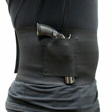 Slim Concealed Carry Belly Band Pistol Gun Holster + 2 Mag Pouches Black Waist