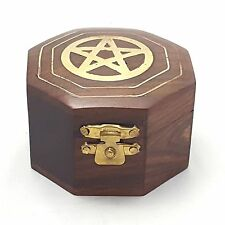 HEXAGONAL PENTAGRAM TRINKET BOX -  BROWN WITH BRASS INLAY