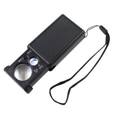 30X/60X Double Lenses Glass Loupe with LED UV Lights Pull Type Jewelry Magnifier