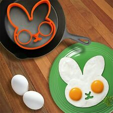 Cute Breakfast Fried Egg Mold Silicone Pancake Egg Ring Shaper Rabbit Bunny